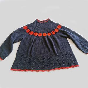 送你一朵小红花 女士钩针圆肩套头毛衣