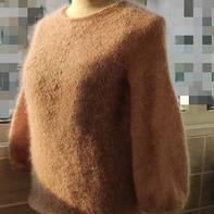 从上往下织女士棒针幼马海套头毛衣
