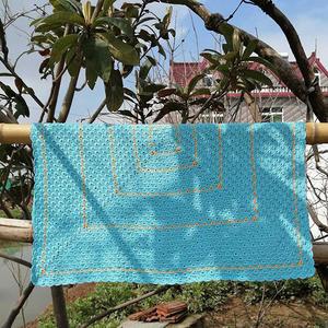 宁静的海风 炫目蓝色钩针海洋风毯子