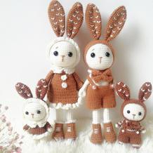 幸福的兔子家族 甜美可爱钩针兔子编织图解