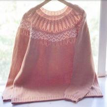 优乐美 从领口往下织女士棒针圆领毛衣