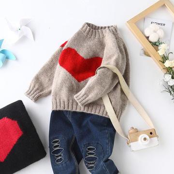 甜心 儿童棒针心形图案圆领插肩袖毛衣(含80、90、130码图解)