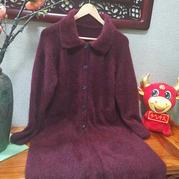红颜醉 女士棒针插肩斜插口袋貂绒大衣