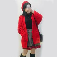 红年 时尚简约球球装饰女士棒针中长款开衫