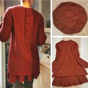 烂漫 仿淘宝款女士棒针套裙(中长款套头衫、半身裙及贝雷帽)