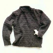 休闲款男士棒针采点羊毛套头毛衣
