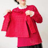 红色钩针新年亲子装  女士儿童钩针长袖套衫