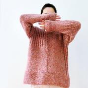 卓顏  粗針織云紋棲霞花樣女士棒針拼接套頭毛衣