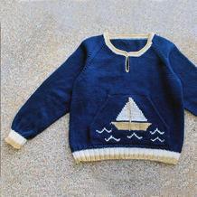 小帆船 仿欧美翻译款儿童棒针握手服式套头毛衣