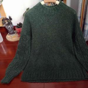 双股云马45号墨绿加一股彩点细羊毛女士棒针灯笼袖毛衣