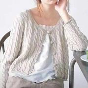 经典休闲女士棒针麻花圆领开衫