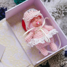 创意编织钩针毛线粉色蕾丝奶嘴娃娃