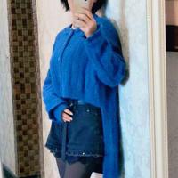 半塘 女士棒针前短后长燕尾式开衫毛衣