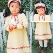 文艺民族风钩织结合儿童长袖连衣裙与钩针发带