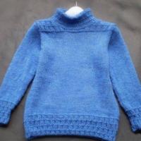 帅帅小男生的毛衣睿蓝 棒针编织3-6岁男孩毛衣款式图解
