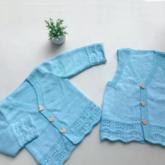 蓝精灵(5-1)儿童棒针凤尾花马甲背心与长袖开衫编织视频教程