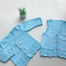 蓝精灵(5-3)儿童棒针凤尾花马甲背心与长袖开衫编织视频教程