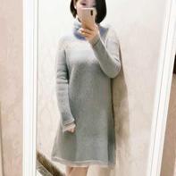 grey blue女士棒针马海镂空花羊毛连衣裙