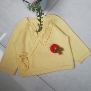 从上往下织的宝宝棒针和尚服式开襟衫