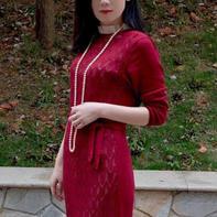 酒红 SK280机织大牌范女士镂空花蕾丝连衣裙