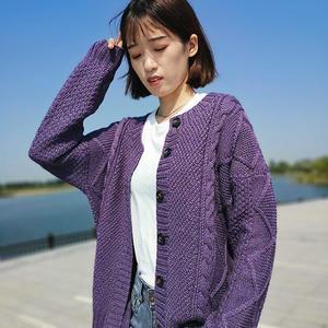 经典棒针花样编织女士棒针紫色开衫外套