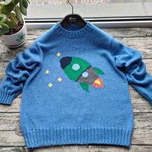 简单好织仿淘宝款棒针火箭图案男童毛衣