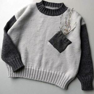 双色咖啡 儿童棒针拼色小口袋套头毛衣