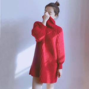 胭脂 云纹女士棒 针鱼骨针高领连衣裙(胖瘦都可穿)
