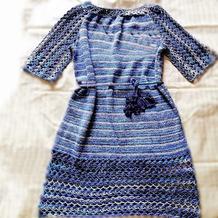 楚葛 段染线女士钩织结合中袖连衣裙
