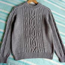 7岁男孩棒针马鞍肩套头毛衣