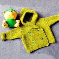 萌宝宝儿童大衣(2-1)儿童棒针双排扣连帽开衫毛衣编织视频
