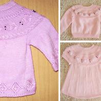金鱼毛衣 从领口往下织经典儿童棒针育克圆肩毛衣
