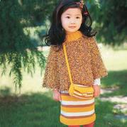 春季兒童棒針半裙斗篷包包套裝