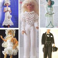 芭比的时尚复古现代装 钩针娃娃服饰编织图解