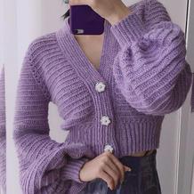妖紫 性感浪漫女士钩针马海毛泡袖短开衫
