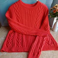 女士棒针橘红麻花套头毛衣