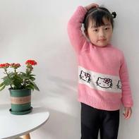 女童最爱的粉色Kitty可爱棒针半高领套头毛衣