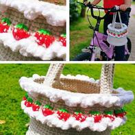草莓水桶包 趣编风格钩针包包编织视频