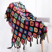 雀之翎拼花毯 手工编织毛线拼花钩针毯子编织视频