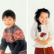 一組帥氣甜美男童女童棒針套頭毛衣(含100cm、110cm、120cm三組數據)