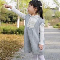 钩织结合背心裙(2-2)方形钩花领装饰儿童棒针背心编织视频教程