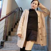 米粒 女士棒针大口袋休闲外套开衫