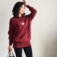 流年 温暖随性女士棒针立领大毛衣