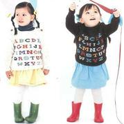 萌宝宝棒针26个英文字母图案肩开扣套头毛衣(尺码90cm、110cm)