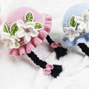 花朵小辫帽子(3-1)儿童钩针木耳边假发帽编织视频教程