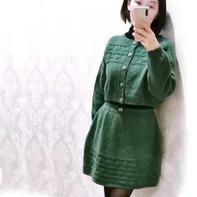 绿茵  非常减龄的女士棒针开衫短裙套装