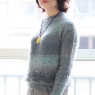 芸芗 从上往下织女士棒针圆肩毛衣
