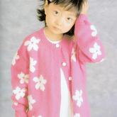 春暖花开女童棒针花朵图案休闲圆领开衫毛衣