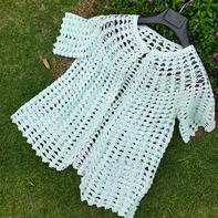 浅绿 从领口往下编织女士钩针短袖外披