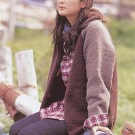 休闲宽松女士棒针插肩袖开衫外套毛衣